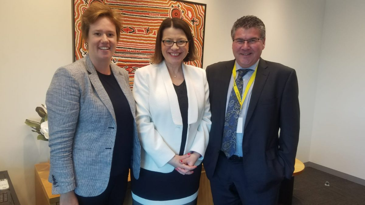 Trevor Carr, RWAV CEO, Jenny Mikakos, Victorian Minister of Health, and Lauren Cordwell, RWAV General Manager Strategy and Stakeholder Engagement.