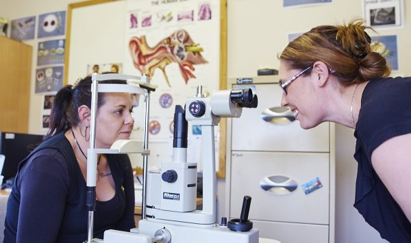 women getting an eye check up